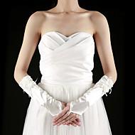 voordelige Handschoenen & Wanten-Satijn Ellebooglengte Handschoen Bruidshandschoenen With Appliqués Geplooid