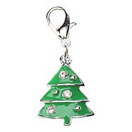 Gatos / Perros Etiquetas Navidad / Brillante Verde Metal