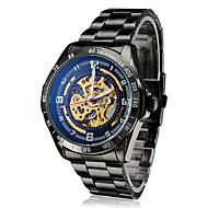 저렴한 -SHENHUA 남성용 손목 시계 기계식 시계 오토메틱 셀프-윈딩 중공 판화 스테인레스 스틸 밴드 사치 블랙