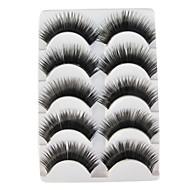 5 Pairs Black False Eyelashes European Lengthening Thicker Fiber Natural Looking Curved Lashes Eye