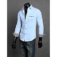 Masculino Camisa Escritório Cor Solida Manga Comprida Preto / Azul / Branco