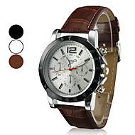 preiswerte -Herrn Quartz Armbanduhr Armbanduhren für den Alltag PU Band Charme Kleideruhr Schwarz Weiß Braun