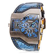 저렴한 -Oulm 남성용 밀리터리 시계 손목 시계 석영 듀얼 타임 존 PU 밴드 블랙 화이트 블루 레드 노란색