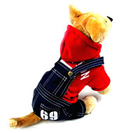 Dog Hoodie Jumpsuit Dog Clothes Cotton Spring/Fall Winter Cowboy Fashion Jeans Gray Red For Pets