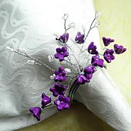 Fioletowy kwiat Koralik akrylowy serwetki Ring Dia4.2-4.5cm Zestaw 12