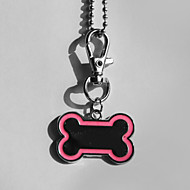 Personalized Gift Bone Shape Pink and Black Pet Id Name Tag with Chain  for Dogs