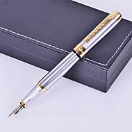 pluma de tinta de metal de plata de estilo de negocios de prima regalo personalizado grabado