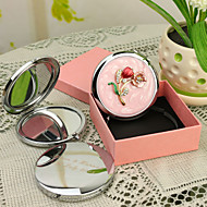 Personalized Gift Blossom Style Pink Chrome Compact Mirror