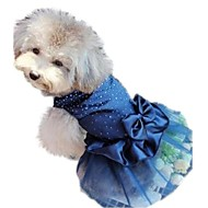 cheap Pet Supplies-Cat Dog Dress Dog Clothes Sequin Red Blue Golden Nylon Costume For Pets Women's Holiday Birthday Wedding