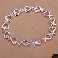 cheap -Fashion 20.5cm Women's Silver Copper Heart Bracelets