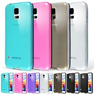 お買い得  携帯電話ケース-ケース 用途 Samsung Galaxy Samsung Galaxy ケース つや消し / 半透明 バックカバー ソリッド TPU のために S5