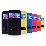 用途 Samsung Galaxy ケース ケース カバー ウィンドウ付き フリップ 超薄型 フルボディー ケース 純色 PUレザー のために Samsung S5
