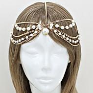 Imitation Pearl Alloy Headband Gold Silver
