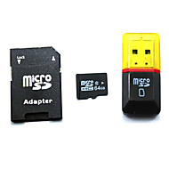 64GB klasse 10 MicroSDHC tf minnekort med SDHC sd adapter og usb kortleser