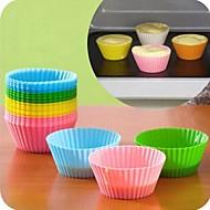 お買い得  ホーム&オフィスガジェット-キャンディーカラーシリコーン焼くケーキ金型6個(アソートカラー)
