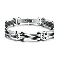 ieftine -Bărbați Brățări cu Lanț & Legături femei Personalizat Modă Bijuterii inițială Teak Bijuterii brățară Argintiu Pentru Cadouri de Crăciun Zilnic / Oțel titan