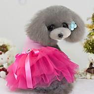 billige Kæledyrsartikler-Hund Kjoler Hundetøj Farveblok Sort Gul Rose Grøn Blå Chiffon Kostume For kæledyr Dame Mode