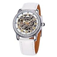 Недорогие Фирменные часы-SHENHUA Жен. Модные часы С автоподзаводом С гравировкой Кожа Группа Аналоговый Роскошь Блестящие Черный / Белый / Красный - Розовый Черный Черный / Белый