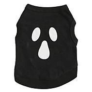 お買い得  -ネコ 犬 Tシャツ 犬用ウェア スカル ブラック コットン コスチューム ペット用 男性用 女性用 キュート ハロウィーン
