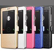 Для Кейс для Huawei со стендом / с окошком / Флип Кейс для Чехол Кейс для Один цвет Твердый Искусственная кожа Huawei Huawei Mate 7