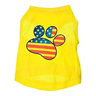 cheap Household & Pets Accessories-Cat Dog Shirt / T-Shirt Dog Clothes American/USA Yellow Cotton Costume For Pets