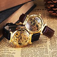 Мужской Наручные часы Механические часы С гравировкой С автоподзаводом Кожа Группа Люкс Черный Коричневый