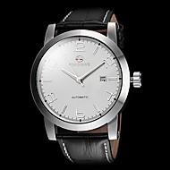 FORSINING Hombre Reloj de Vestir El reloj mecánico Cuerda Automática Calendario Piel Banda De Lujo Minimalista Negro