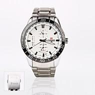 personlig gave ny stil mænds hvid urskive i rustfrit stål band sport analog indgraveret ur