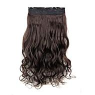 24-дюймовый 120г долго темно-коричневый жаропрочных синтетического волокна вьющиеся клип в наращивание волос с 5 клипов