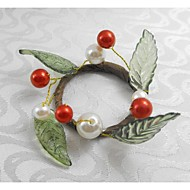 piros karácsonyi gyümölcsök gyöngy szalvétagyűrű karácsony, akril, 1.77inch, meg a 12