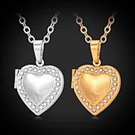 halpa -Naisten Circle Shape Muoto Love Muoti Choker-kaulakorut Riipus-kaulakorut Lukkojen kaulakoru Synteettinen timantti Tekojalokivi Platinum