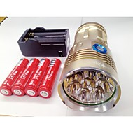 お買い得  フラッシュライト/ランタン/ライト-LED懐中電灯 LED Cree® XM-L T6 8 エミッタ 9600lm 3 照明モード バッテリー&チャージャー付き 防水, 充電式, ナイトビジョン キャンプ / ハイキング / ケイビング, 日常使用, 警察 / 軍隊 ブラック / グレー / ゴールデン