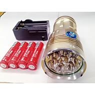 LED-Zaklampen LED 9600lm lm 3 Modus Cree XM-L T6 inklusive Batterien und Ladegerät Oplaadbaar Waterbestendig Nacht Zicht