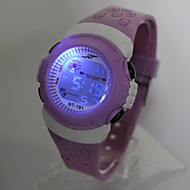 halpa Poikien kellot-Lasten Muotikello Digitaalinen Watch Japani Quartz Digitaalinen 30 m Arkikello Silikoni Bändi Digitaalinen Tyylikäs Violetti - Purppura Yksi vuosi Akun käyttöikä