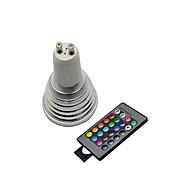 olcso LED szpotlámpák-3W GU10 LED szpotlámpák 3 led Távvezérlésű RGB /lm 2800-3500/6000-6500K AC 220-240V