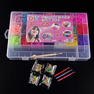 baoguang®loom bands willekeurige kleur bands ingesteld (4200pcs elastiekjes, 4 pakket s clips, 1looms, 3 haak + 1box)