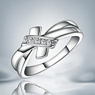 Χαμηλού Κόστους -Γυναικεία Δακτύλιος Δήλωσης Ασήμι Στερλίνας Cubic Zirconia Φιογκάκι Μοντέρνο Μοντέρνα Μοδάτο Δαχτυλίδι Κοσμήματα Bowknot Shape Ασημί Για Γάμου Πάρτι Ένα Μέγεθος