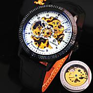 Недорогие junming-Мужская новый взрыв круглый стеклянный симфония набором кожаный ремешок модного бизнеса механические часы (разных цветов)