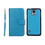 billige -Til Samsung Galaxy Etui Lommebok Kortholder Flipp Etui Heldekkende Etui Ensfarget Ekte lær til Samsung S5