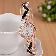 billige -yoonheel Dame Armbåndsur Simulert Diamant Klokke Moteklokke Quartz Imitasjon Diamant Metall Band Glitrende Elegant Svart Hvit Blå Rød