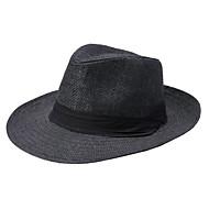 ユニセックス ストロー フェドーラ帽 , カジュアル 夏