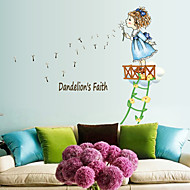 Lovely Girl Blow Dandelions PVC Wall Stickers Wall Art Decals