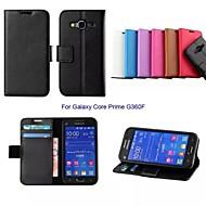 Недорогие Чехлы и кейсы для Galaxy Core Prime-Кейс для Назначение SSamsung Galaxy Кейс для  Samsung Galaxy Кошелек / Бумажник для карт / со стендом Чехол Однотонный Кожа PU для Core Prime