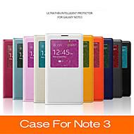 Недорогие Чехлы и кейсы для Samsung-Для Samsung Galaxy Note с окошком / С функцией автовывода из режима сна / Флип Кейс для Чехол Кейс для Один цвет Искусственная кожа