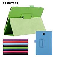Недорогие Чехлы и кейсы для Galaxy Tab A 9.7-Кейс для Назначение SSamsung Galaxy Чехол Сплошной цвет Кожа PU для
