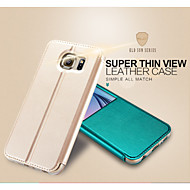 Недорогие Чехлы и кейсы для Galaxy S-Кейс для Назначение SSamsung Galaxy Кейс для  Samsung Galaxy со стендом с окошком Флип Чехол Сплошной цвет Кожа PU для S6
