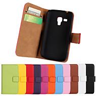 Недорогие Galaxy Trend Duos-Кейс для Назначение SSamsung Galaxy Кейс для  Samsung Galaxy Бумажник для карт со стендом Флип Чехол Сплошной цвет Кожа PU для Trend Plus