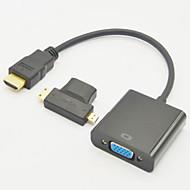 3-v-1 HDMI zásuvka mini HDMI mužů a mikro HDMI zástrčka adaptéru + HDMI v1.3 VGA M / Ž kabel
