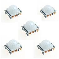 billige Arduino-tilbehør-5pcs hc-sr501 infrarød menneskelige krop induktion modul pyroelektrisk infrarød sensor probe til Arduino