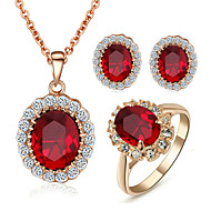 Women's Crystal Synthetic Diamond Jewelry Set - Crystal, Cubic Zirconia, Imitation Diamond Ladies, Birthstones Include Red For Wedding Party Daily Casual / Rings / Earrings / Necklace